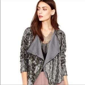 Free People Drippy Sequin Jacket Size Small Silver